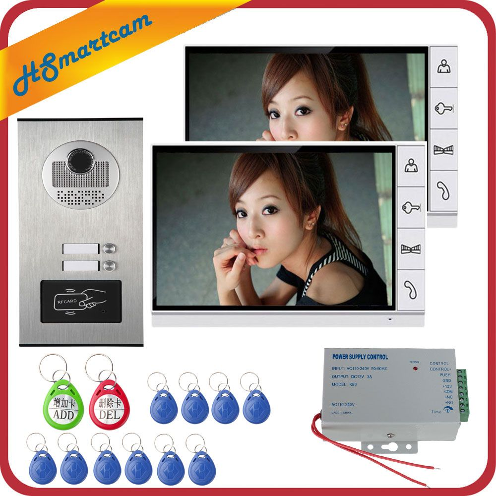 9 zoll Home Video Sprech Türsprechanlage Glocke Kits Hause Familien Tür Induktive Karte Kamera mit 2-Monitor Intercom Systeme