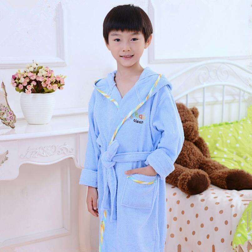 boys bathrobe kids hooded poncho towel pink bathrobe for girls roupao blue bath robe green <font><b>loose</b></font> cotton pajamas baby bath robes