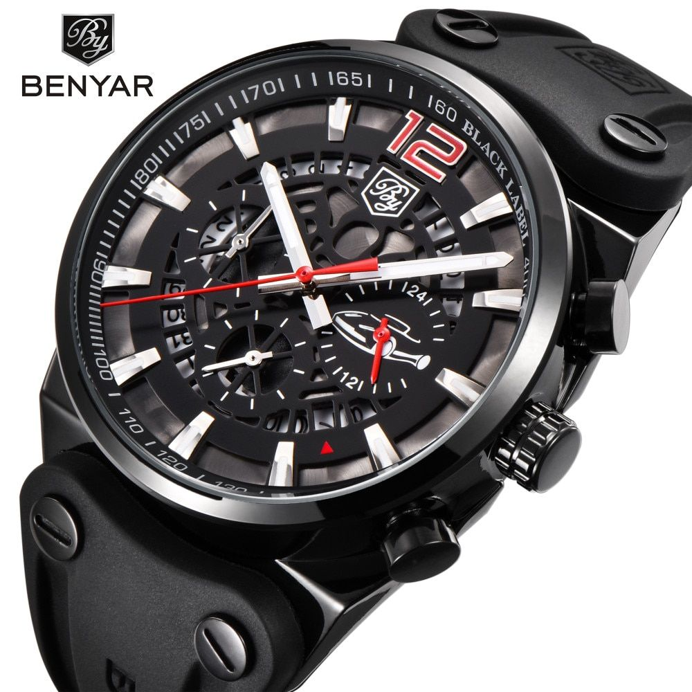 2019 BENYAR Brand Multifunction Chronograph Mens Watches Military leather Waterproof Quartz Black Sport Watch Relogio Masculino
