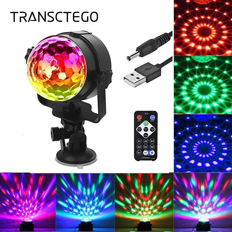 Transcendance Disco lumière USB fête Laser pour voiture DJ boule magique contrôle sonore lampe mobile tête véhicule Disco projecteur scène lumières
