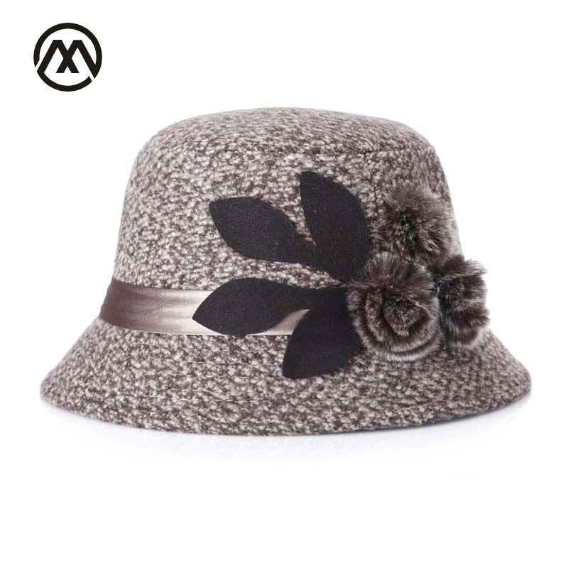 Noble Señora Sombreros de fieltro tapa superior mujeres de mediana edad Fieltro sombrero decoración de flores sombrero de la vendimia madre cubo cúpula sombrero Iglesia sombrero de época