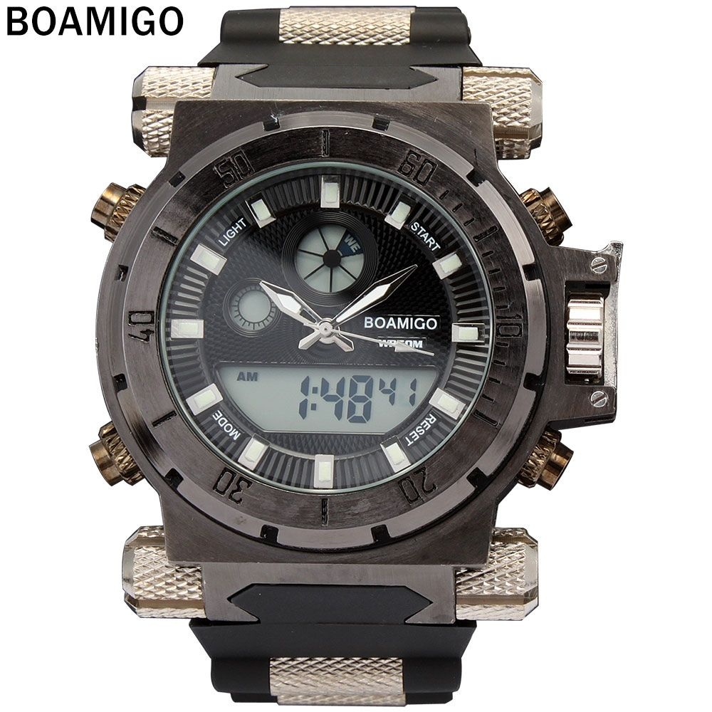 BOAMIGO 2016 popular brand Men military sports watches Dual Time Quartz Digital Watch rubber band wristwatches relogio masculino