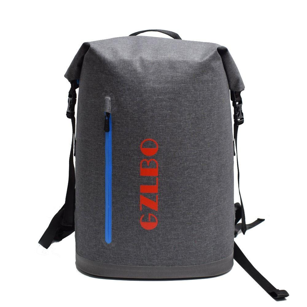 Gzlbo 40 latas Oxford TPU gris oscuro impermeable aislado cerveza comida picnic enfriador mochila bolsa con bolsillo con cremallera