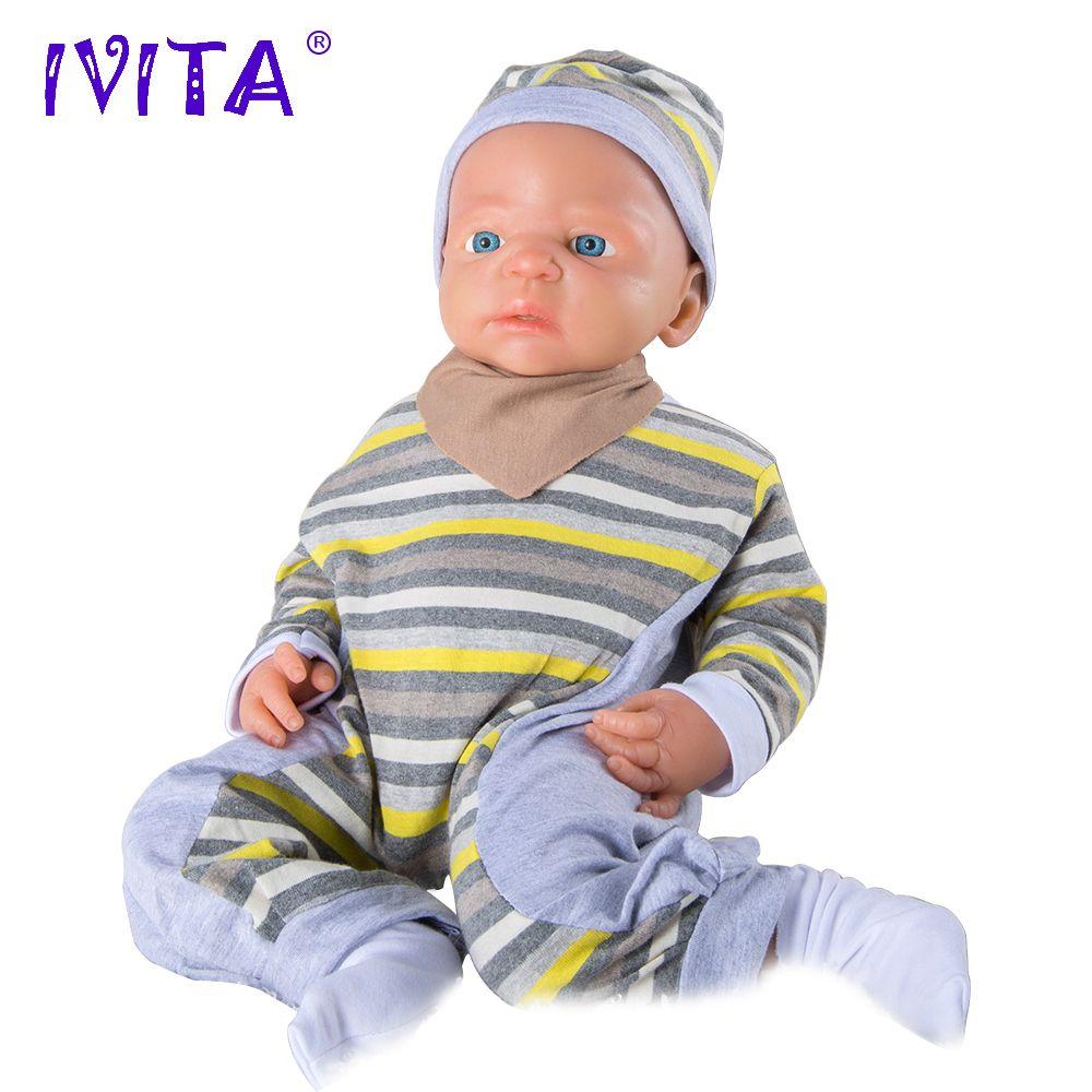 IVITA 22 zoll/5 kg Junge Augen Geöffnet Hohe Qualität Silikon Reborn Puppen Baby Geboren Volle Körper Lebendig Mit kleidung Puppe Baby Geboren Spielzeug