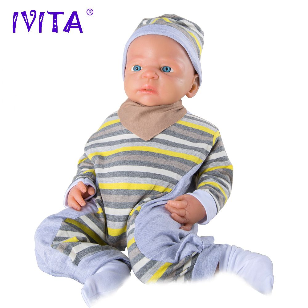 IVITA 22inch/5kg Boy Eyes Opened High Quality Silicone Reborn Dolls Baby Born Full Body Alive With Clothes Doll Baby Born Toys