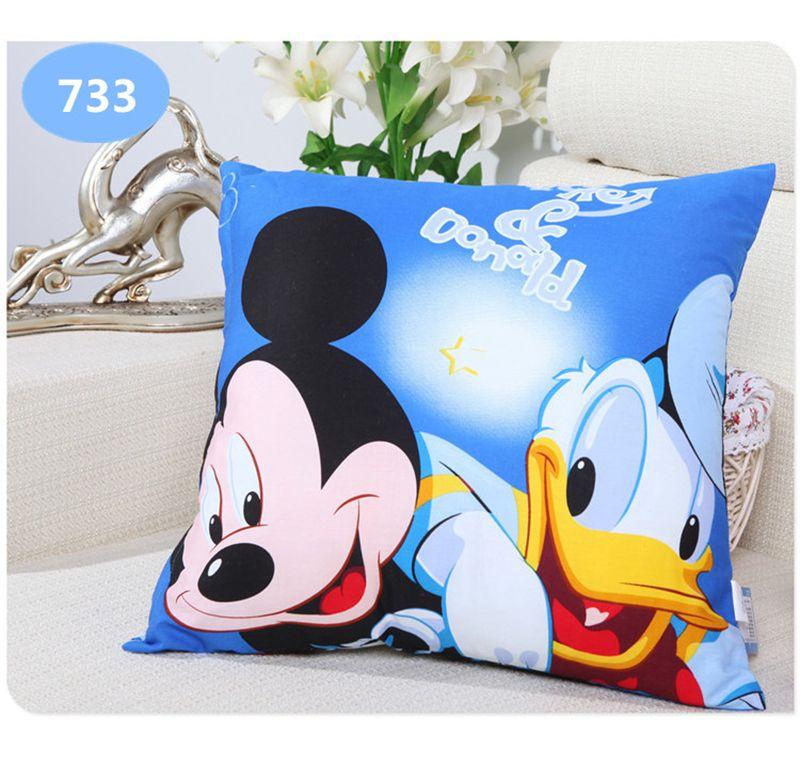 Disney Carton Printing Pillow Frozen Princess Mickey Mouse Donald Duck Snow White Printing Throw Pillow Bolster Square Cushion