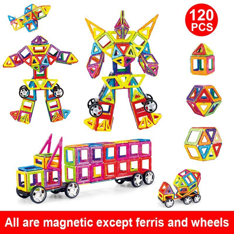 Magnetic Building Blocks Educational 3D Toys Magnet Designer For Kids Magnetic Tiles Kit Construction Toy Set Standard Size