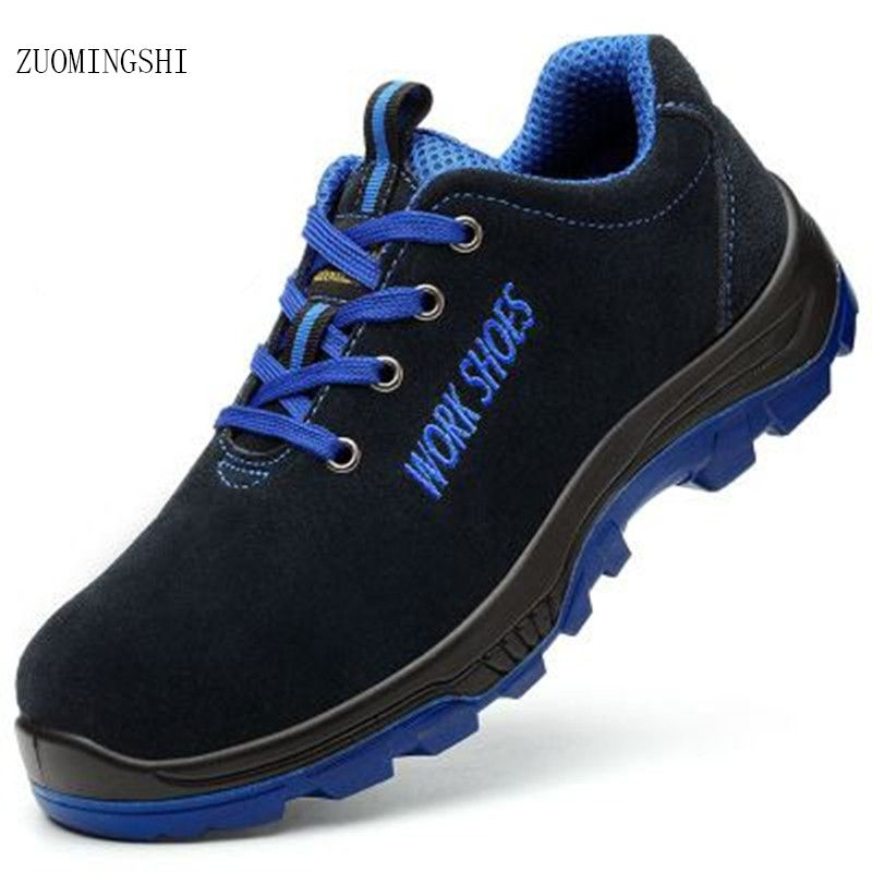 Breathable cow leather Steel Toe light Safety Shoes men with Puncture Proof Midsole Slip Resistance Light Weight Work Boot
