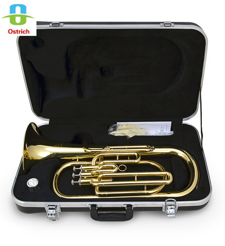 High-Grade 3 Piston Baritone Horn B-Flat Gold Brass With Case