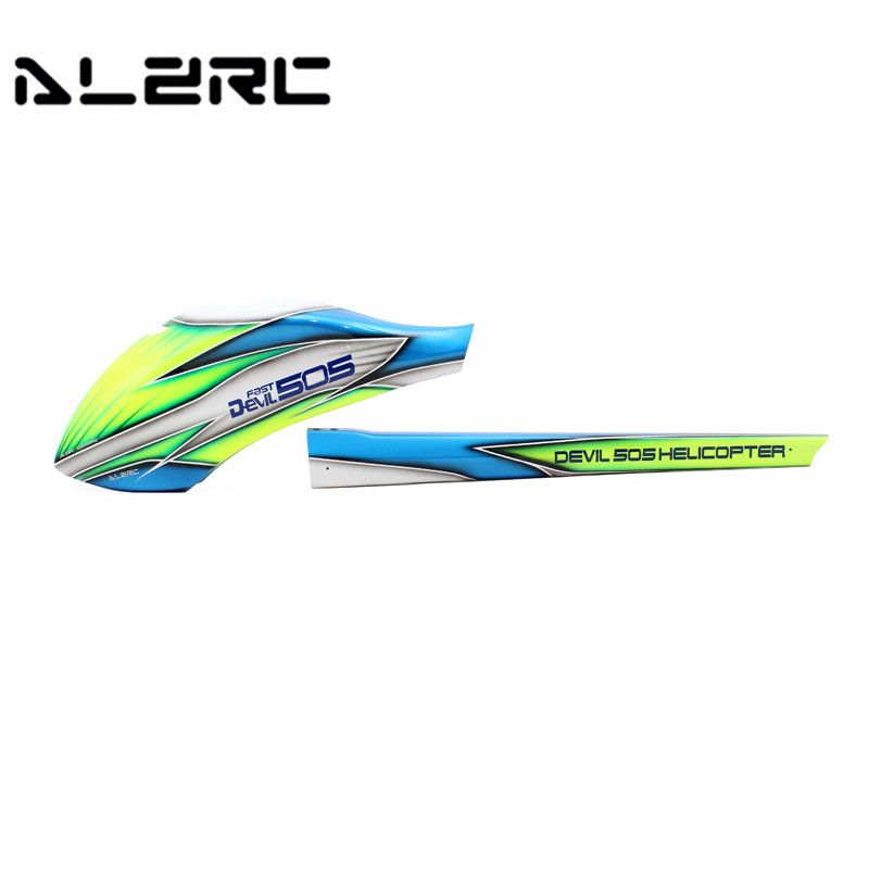 Well Packing ALZRC Devil Fast 505 RC Helicopter Parts Canopy Glass Fiber Head Tail Carbon Fiber Green Encasement Chassis Frame