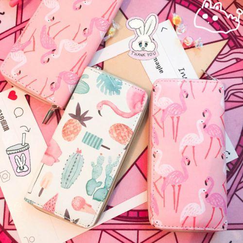 Mädchen Frauen nette mappe Dame Pu-leder Kupplung Brieftasche obst flamingo erdbeere muster Lange Kartenhalter-geldbeutel Box Handtasche Tasche
