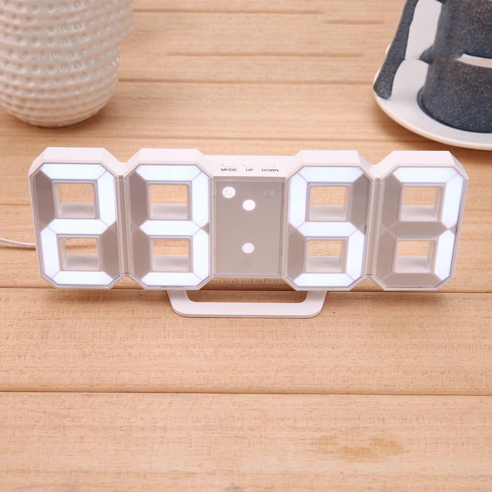 Творческий 3D 4 цифровой светодиодный Таблица настенные часы таймер украшения дома стол повтора сигнала оповещения 12/24 часа дисплей новинка ...