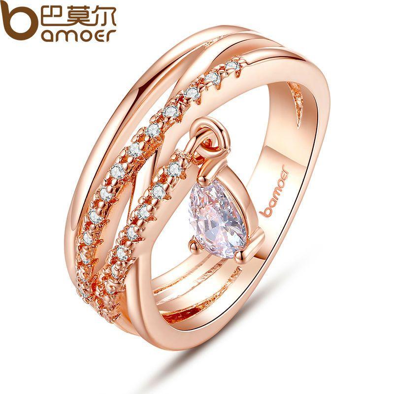 BAMOER Gold Farbe Böhmen Ring für Dame Hochzeit mit Wasser Tropfen Anhänger Spezielle Shop Schmuck JIR054