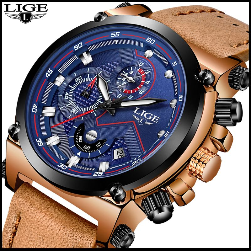 LIGE Fashion Mens Watches Top Brand Luxury Casual Sport Quartz Watch Men Leather Waterproof Military Wristwatch Relogio Masculio