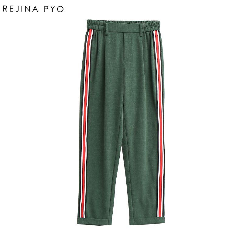 RejinaPyo Women Elegant Side <font><b>Stripe</b></font> Pants Elastic Waist Ladies Autumn Casual Streetwear Fashion Ankle-length Trousers Mujer