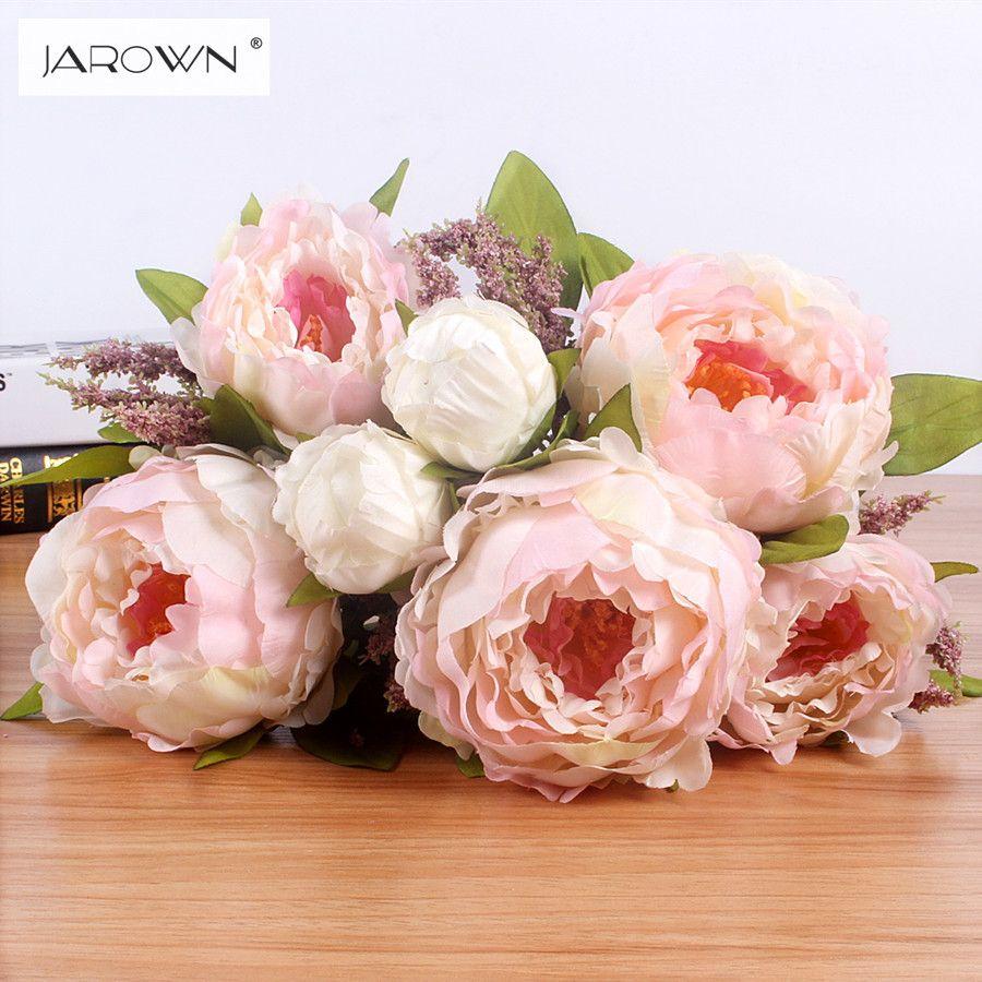 JAROWN 7 têtes/bouquet nouveau. soie/Simulation/fleur artificielle pivoine fleur bouquet pour table de mariage accessoire décoration maison