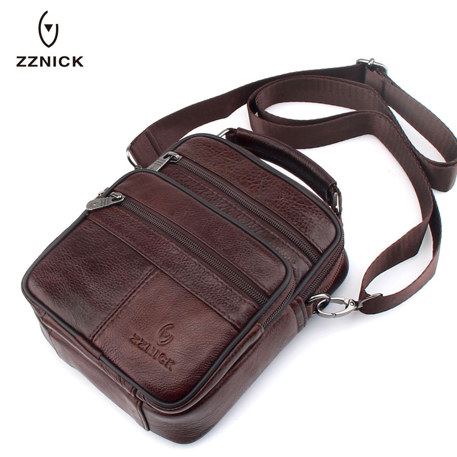 ZZNICK 2018 Genuine Cowhide Leather Shoulder Bag Small Messenger Bags Men <font><b>Travel</b></font> Crossbody Bag Handbags New Fashion Men Bag Flap