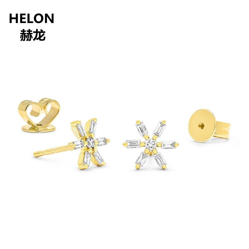 0.18ct Diamanten Baguette Runde Stud Ohrringe Solide 14 k Gelb Gold Frauen Schneeflocke Ohrringe Rose Gold Weiß Gold Optional