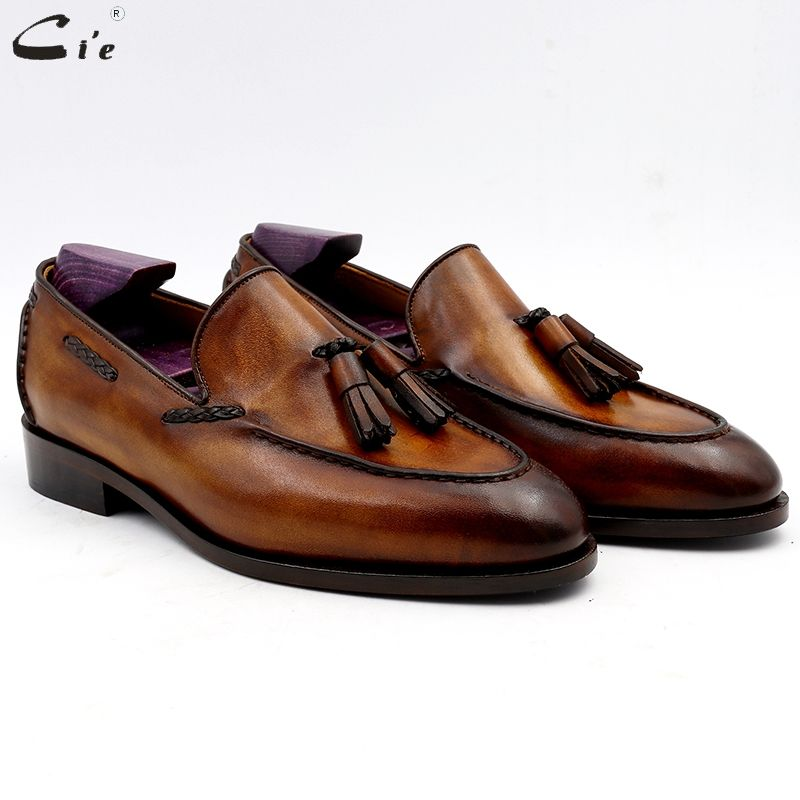 cie Round Toe Pure Genuine Leather Bespoke Blake Stitch Handmade Patina Brown Tassels Slip-on Men's Shoe Casual Boat loafer 159