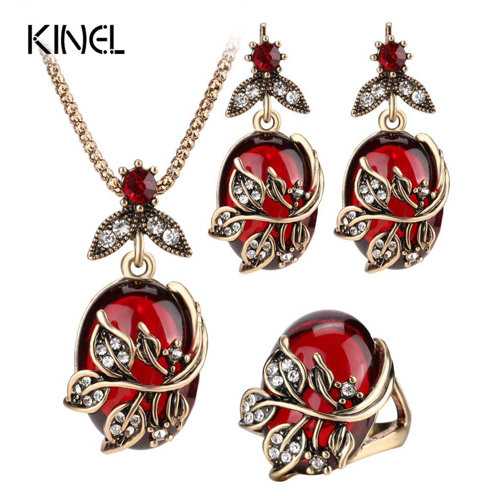 Kinel 3Pcs Red Oval Crystal Flower Jewelry Sets  Antique Gold Vintage Ring Earring Pendant Necklace Wedding Jewelry For Women