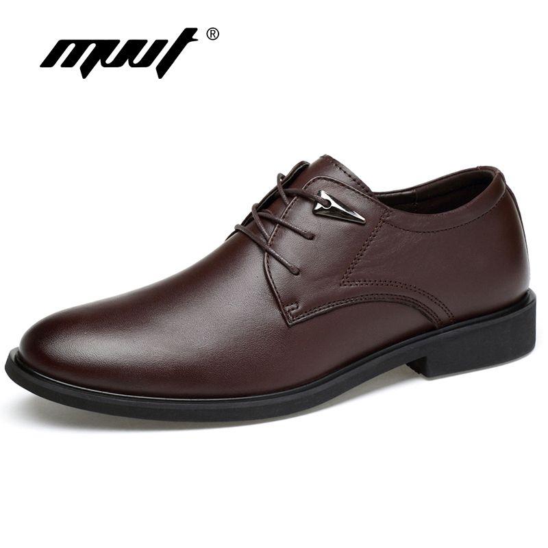 MVVT grande taille en cuir véritable robe chaussures mode bout pointu hommes Oxfords haute qualité en cuir hommes chaussures solides hommes chaussures plates