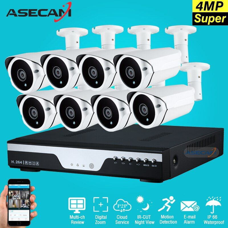 New Super Full HD 8ch 4MP Outdoor Video Surveillance 8Channel Array Security Camera kit with dvr Plug and play