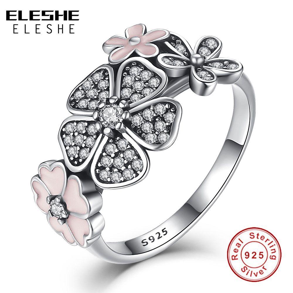 Saint valentin authentique 925 argent Sterling fleur rose poétique Daisy cerisier fleur bagues pour les femmes bijoux originaux