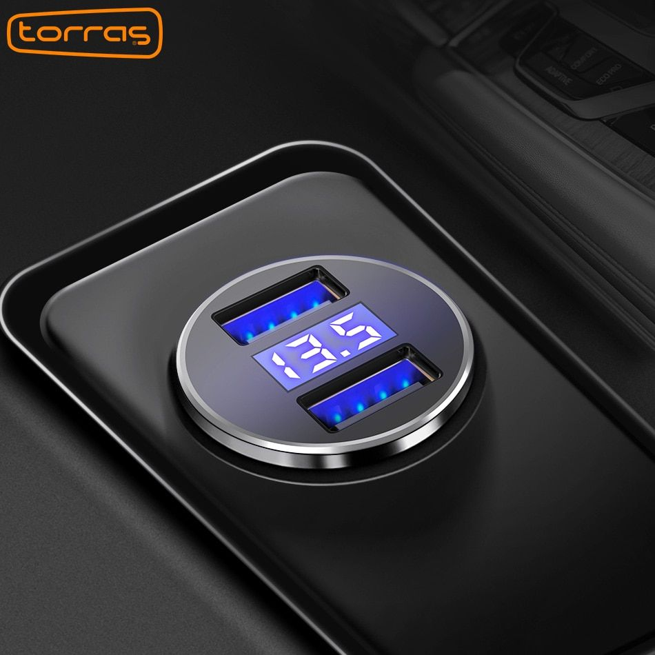 TORRAS Double USB Voiture Chargeur Numérique Affichage LED 5 V/3.4A Rapide De Charge téléphone Chargeur Pour iPhone X 8 Samsung S8 Plus USB Chargeur