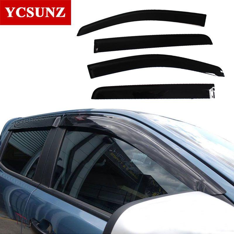 Injection Schwarz Auto Wind Visier Vent schatten/regen/sonne/schutz Fenster Deflektor Für Ford Ranger T6 T7 t8 25012-2019 doppel kabine