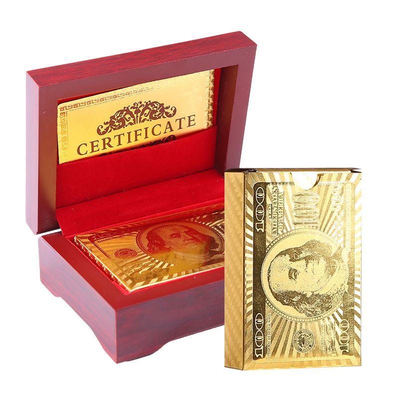 Cartes à jouer en plastique emballées dans une boîte en bois cadeau boîte de cartes de Poker en plastique étanche