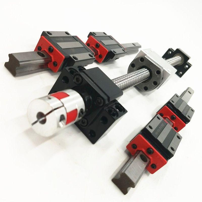 12 HBH20CA Square Linear guide sets + 3 Ballscrew  SFU605-400/700/1000mm + BK BF12 + jaw Flexible Coupling Plum Coupler for cnc