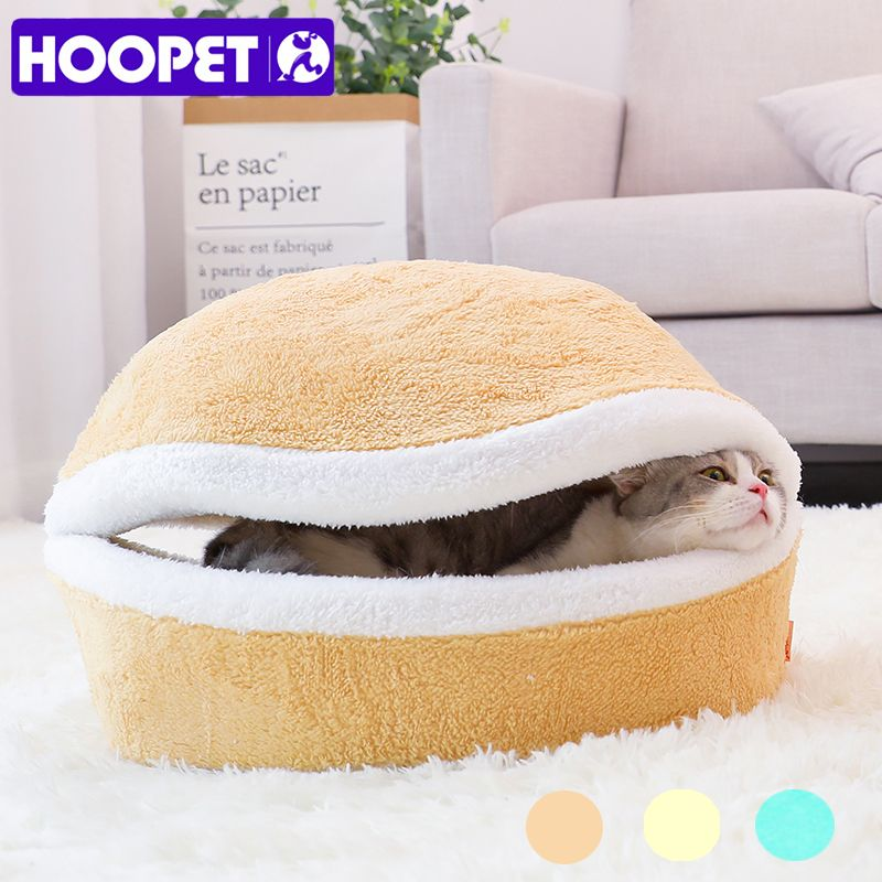HOOPET Warm Cat Bed <font><b>House</b></font> Hamburger Bed Disassemblability Windproof Pet Puppy Nest Shell Hiding Burger Bun for Winter