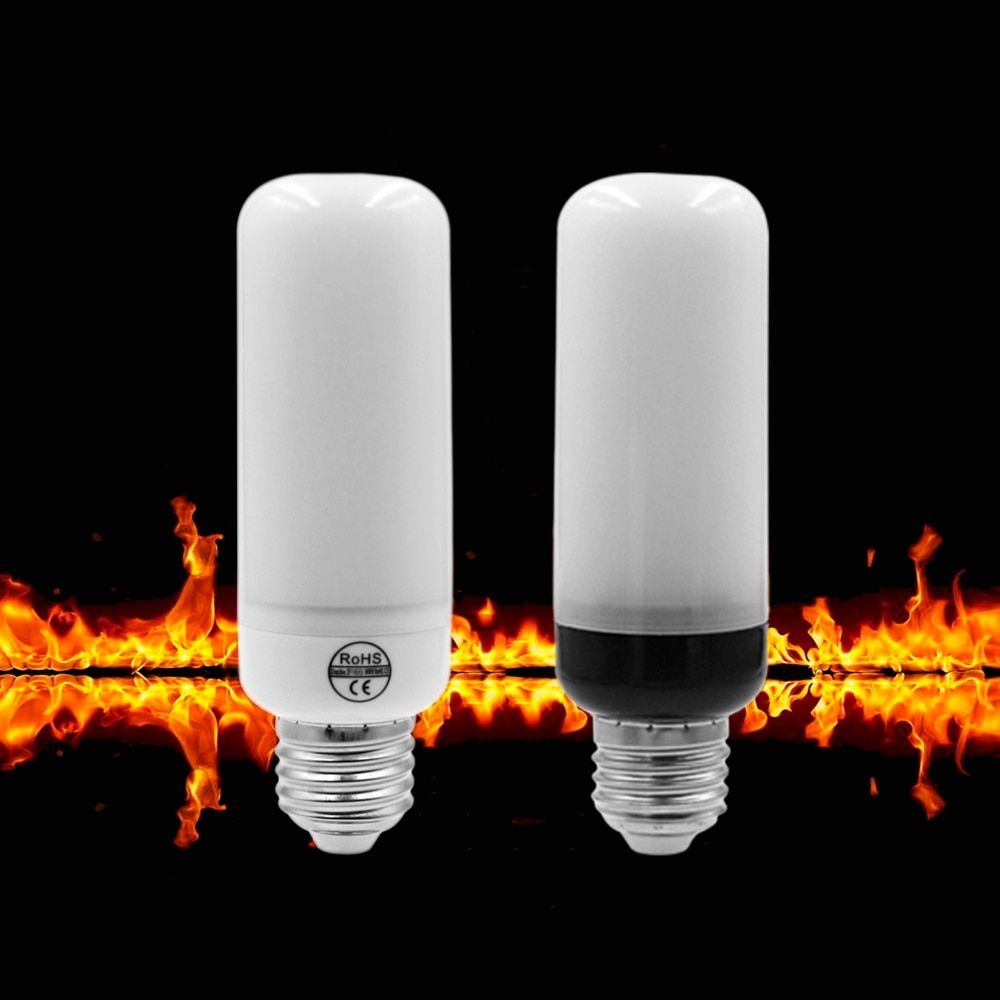 ETONTECK LED Flame Lamp E27 E26 E14 AC85-265V Flame Effect Fire Light Corn Bulb 5W 2835 LED Flickering Emulation flame Lights