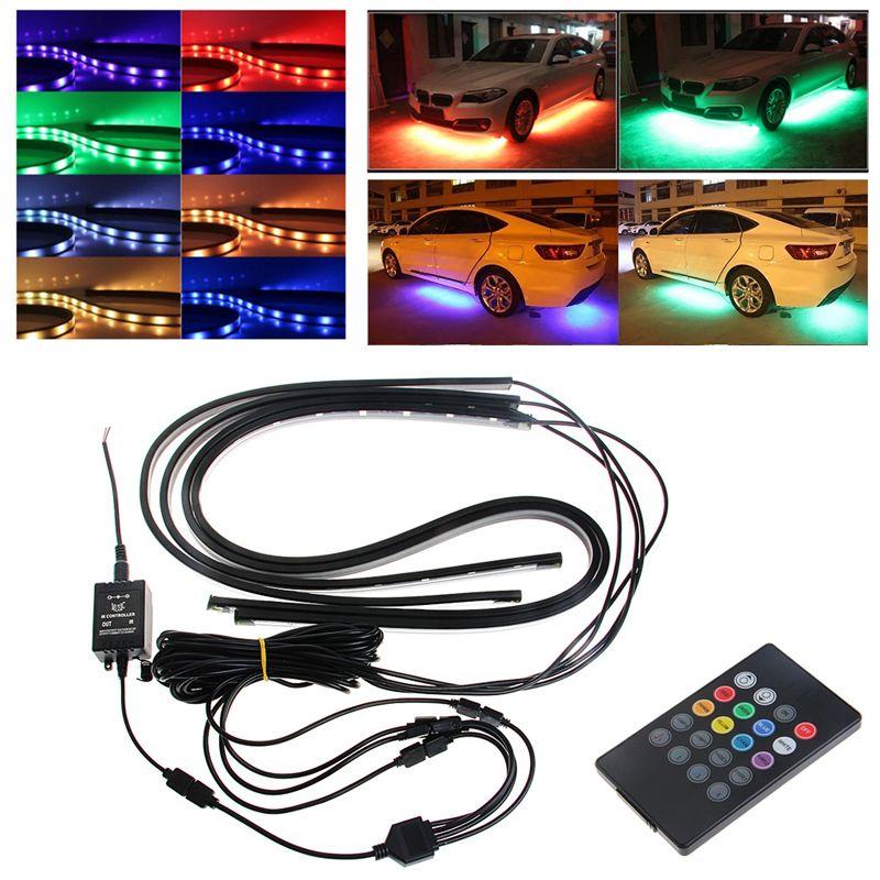 1Set RGB LED Strip Under Car Tube Underglow Underbody Glow System Neon Light Remote