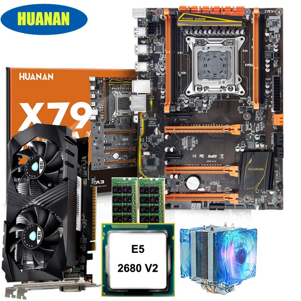 HUANAN deluxe X79 motherboard CPU RAM set with video card GTX1050ti 4G Xeon E5 2680 V2 RAM 32G DDR3 1600MHz RECC with CPU cooler
