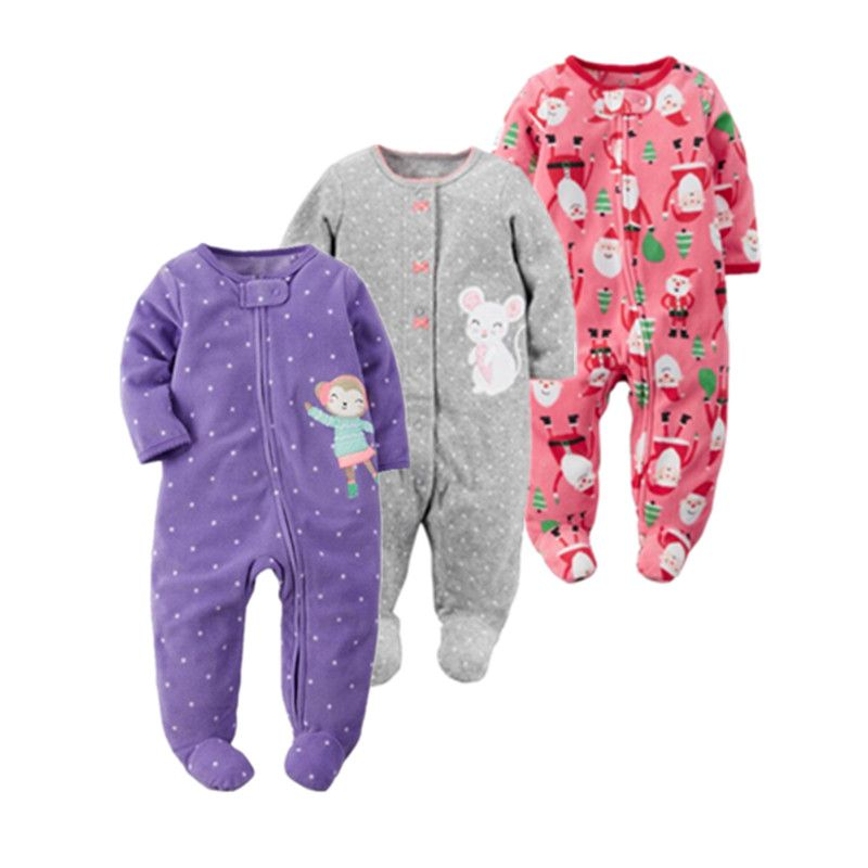 2017 christmas baby girl clothes , soft fleece kids one pieces Jumpsuits Pajamas 0-24M infant girl boys clothes baby costumes