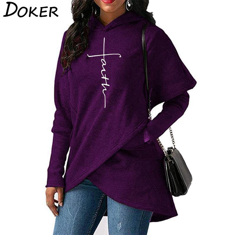 5XL Autumn Hoodies Sweatshirts Women Long Sleeve Faith Embroidery Warm Hooded Pullover Tops Plus Size Casual Female Sweatshirt