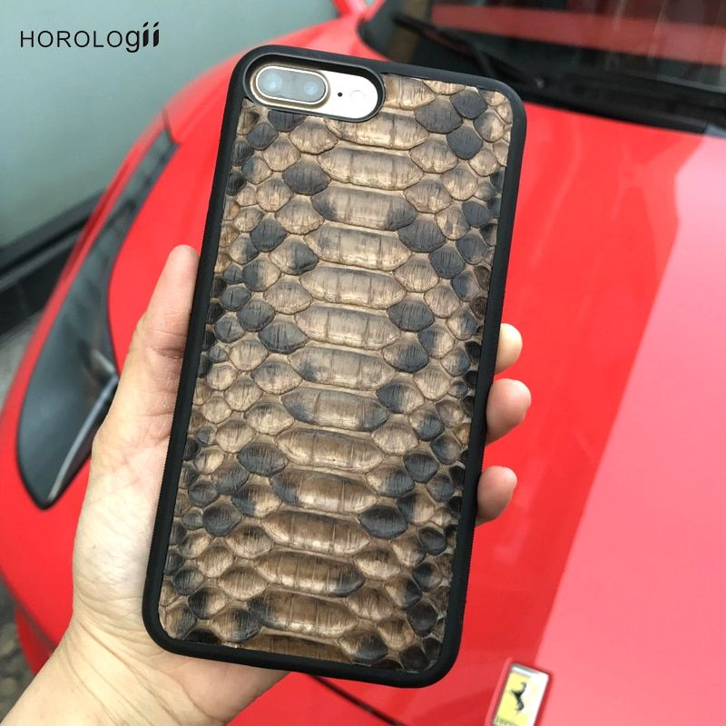 Horologii New Design Snake Skin leather for iphone 7 X plus luxury mobile phone accessories custom name service