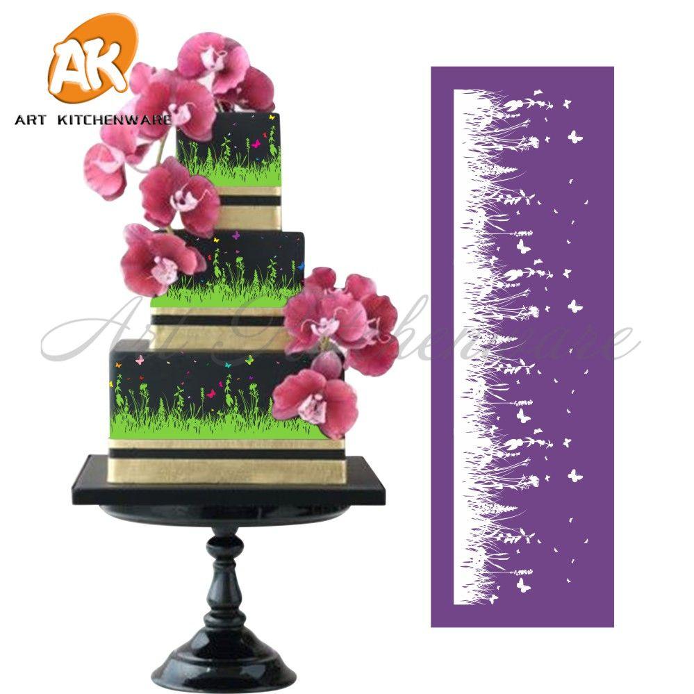 Nouvelle prairie maille pochoir dentelle gâteau pochoir bricolage gâteau décoration outils tissu gâteau pochoirs pour gâteau moule Fondant moules MST-08