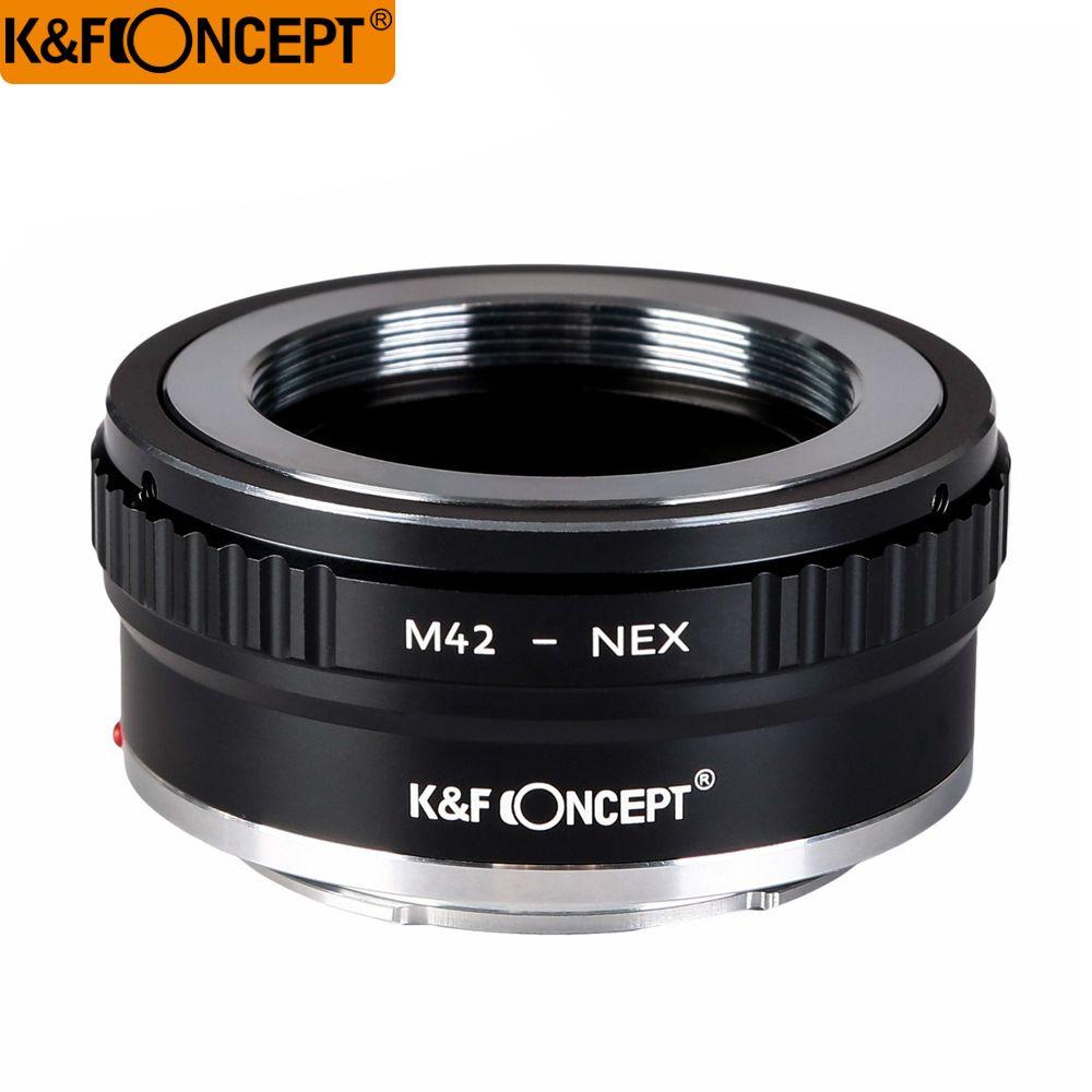 K & F Concept Interface tout-cuivre bague adaptateur d'objectif haute précision objectif M42 à tous les corps de caméra Sony NEX