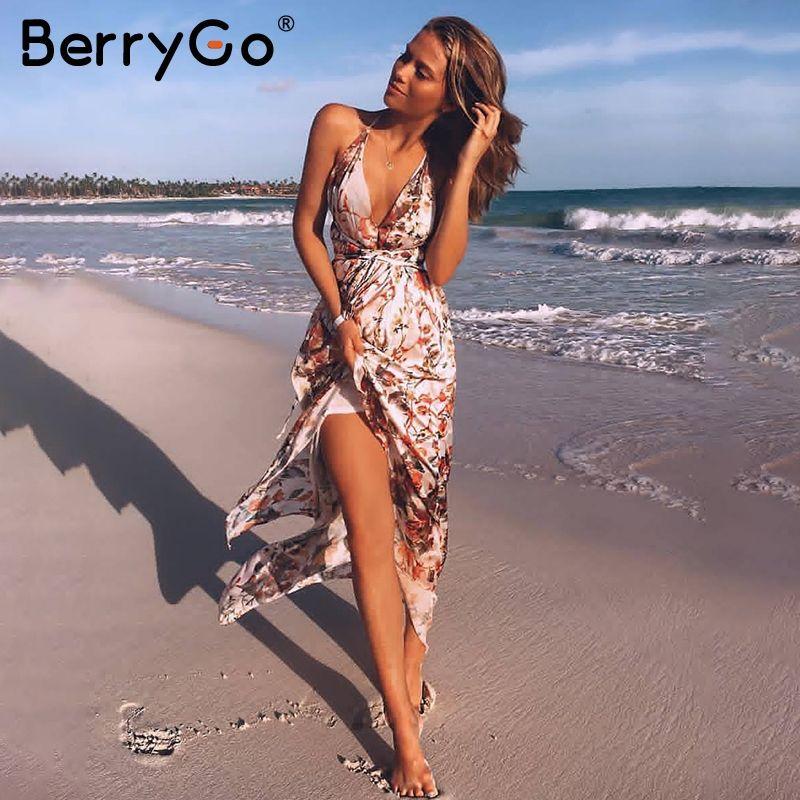 BerryGo Sexy v neck backless satin long dress Women strap floral print boho maxi dress High split causal summer dress vestidos