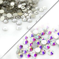 QIAO SS3-SS40 (1.3mm-8.4mm) AAA strass cristal AB clair Non Correctif flatback Strass pour Ongles 3D nail art décoration gems