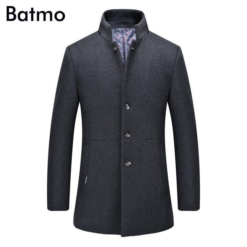 Batmo 2017 neue ankunft winter hohe qualität wolle herren grau Einreiher trenchcoat wintermantel männer, plus-größe XZ617B-1623