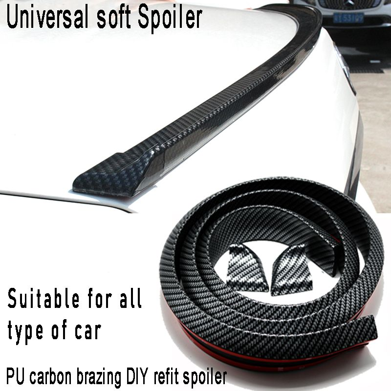 Universal car type paste installation soft spoiler PU carbon brazing DIY refit car rear spoiler suitable for all type of car