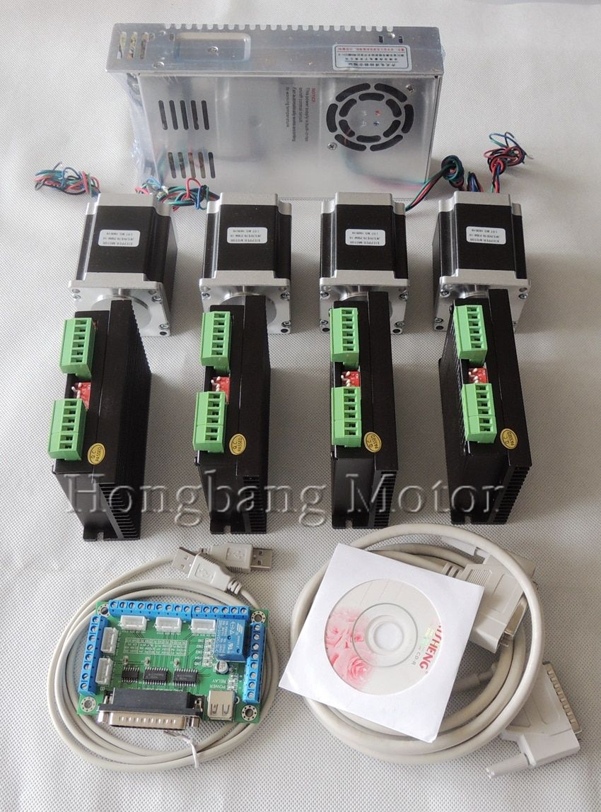 CNC Router 4 Axis kit, 4pcs TB6600 stepper motor driver +one breakout board + 4pcs Nema23 270 Oz-in motor + power supply#ST-4045