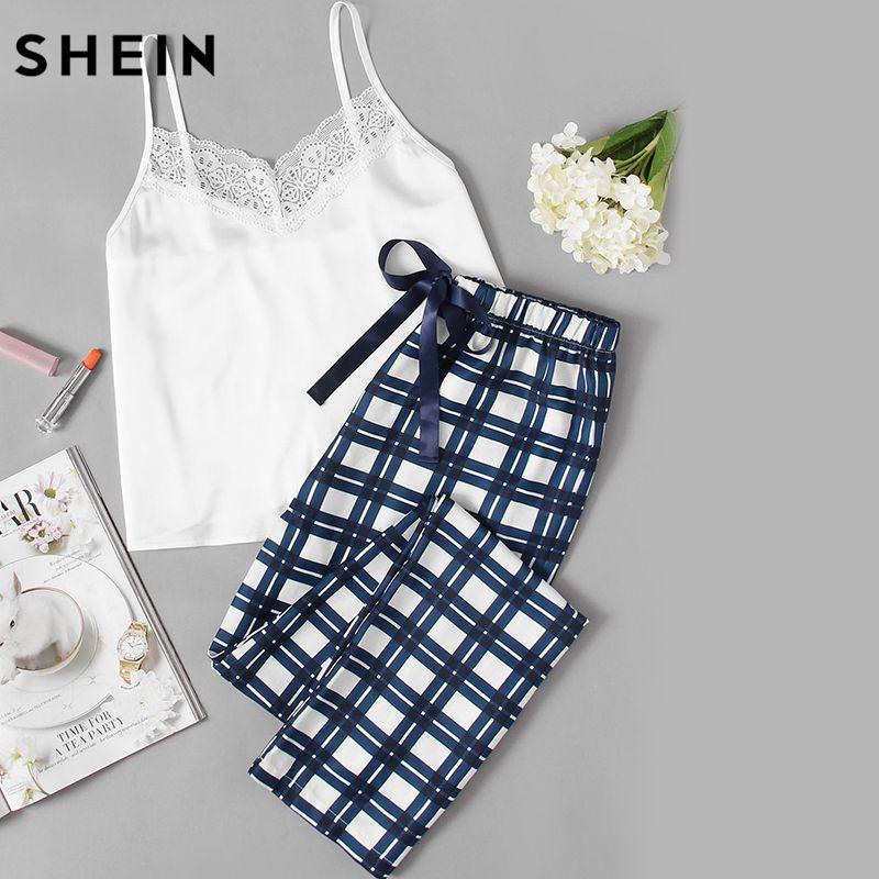 SHEIN Mujer Pijamas ropa de Dormir Conjunto Correa de Espagueti Sin Mangas de Encaje Adornado Blanco Cami & Plaid Pantalones de Pijama Set