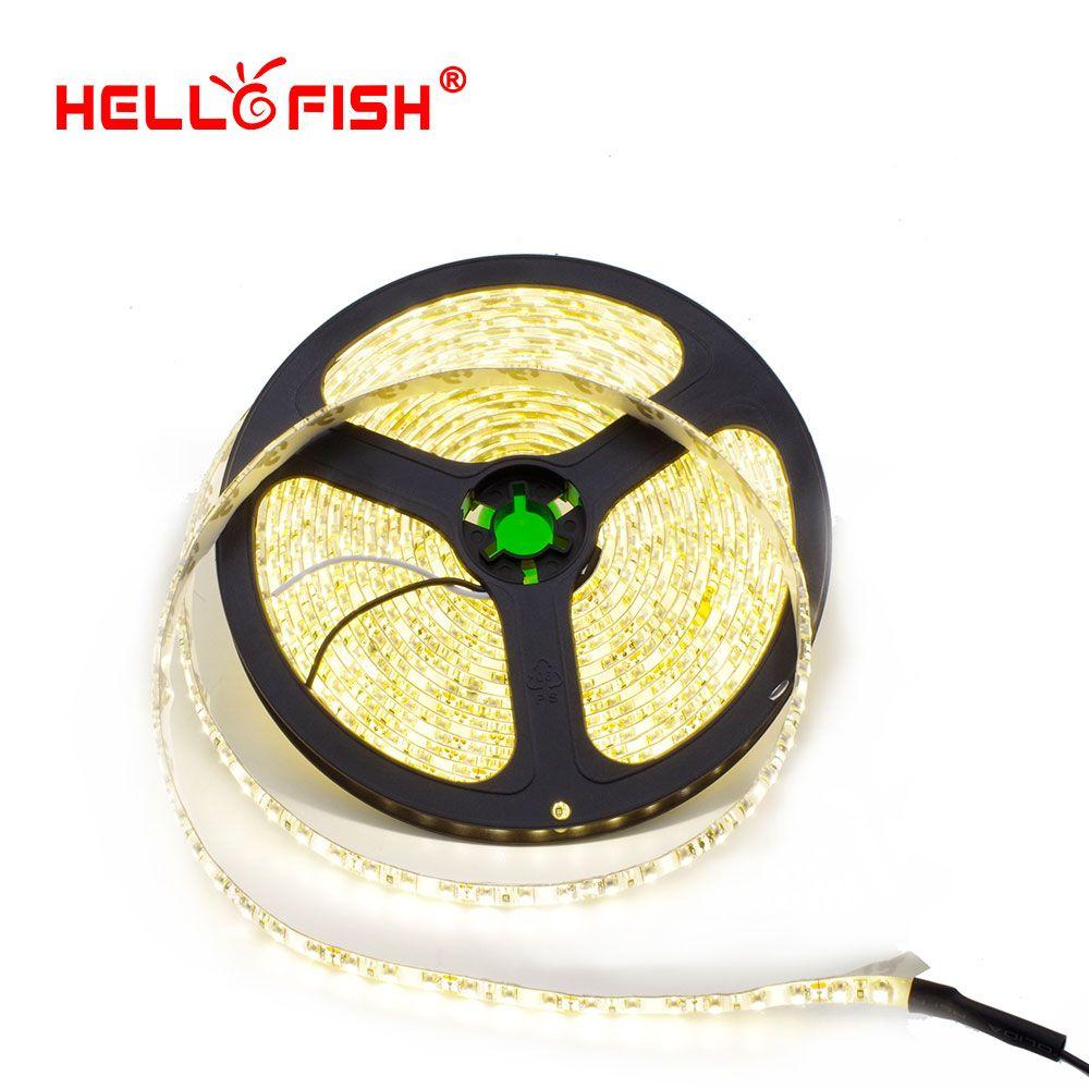 Hello Рыбы 5 м IP65 Водонепроницаемый 600 светодиодный Клейкие ленты 2835 SMD 12 В гибкие Светодиодные ленты, белый/теплый белый