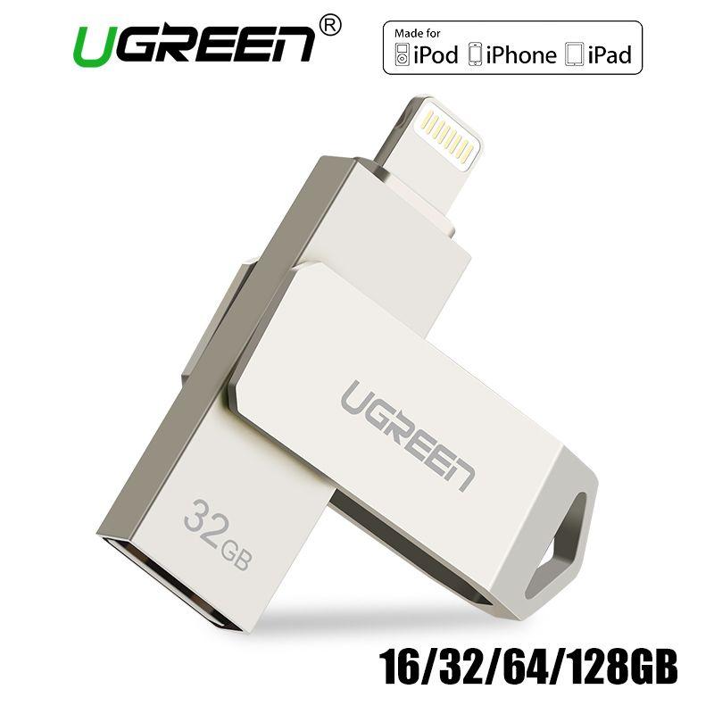 Ugreen USB Flash Drive USB Pendrive for iPhone X Xs 9 8 7 Plus iPad 16/32/64/128 GB Memory Stick USB Key MFi Lightning Pen drive