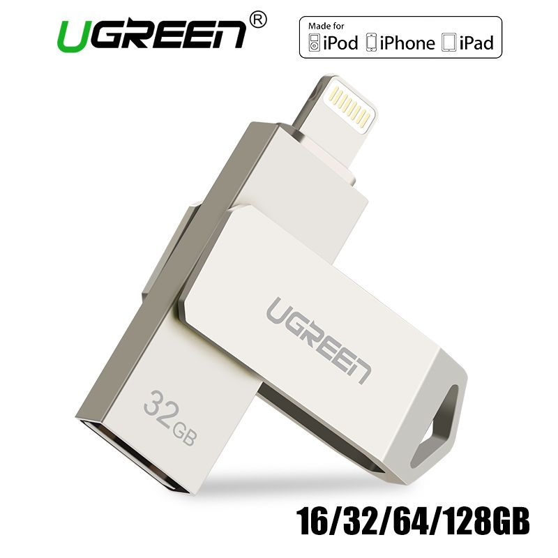 Ugreen USB Flash Drive USB-Stick für iPhone X Xs 9 8 7 Plus iPad 16/32/64 /128 gb Memory Stick USB Schlüssel MFi Blitz Pen drive