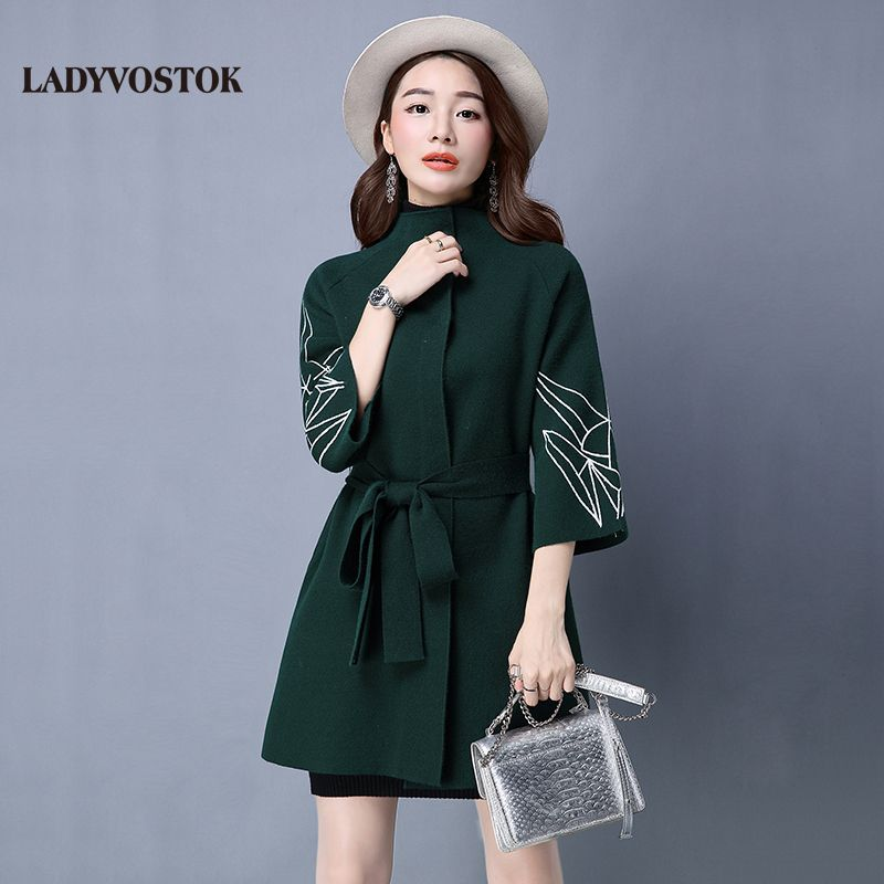 Ladystock elongated model with turndown collar 2018 spring new with belt free sleeve knitted cardigan sweater coat H8032
